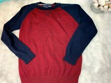 Tommy Hilfiger Boys Size Large 16/18 Sweater Color block Red/Navy
