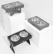 More details for new pet dog elevated stands raised adjustable dual dog bowl table uk seller