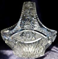 Vintage Retro ? Bohemian Cut Lead Crystal Basket Vase Star of David 20cm high
