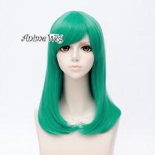 Anime 50CM Medium Green Straight Hair DRAGON BALL Bulma Cosplay Wigs + Wig Cap