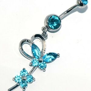 Long Green butterfly belly ring Dangle Drop Button navel piercing jewelry Womens