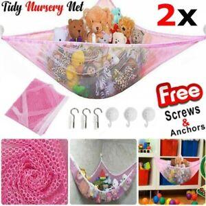 2x Soft Large Toys Hammock Mesh Net Teddy Bear Keep Baby Bedroom Nursery Tidy