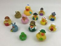 Rubber Ducky Ducks Bath Water Toy Figures Lot 13pc Pirate Bride Holiday Skier