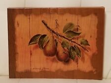 Vintage Kitchen Decor Wall Hanging Wooden plaque Pears Marcus Stone