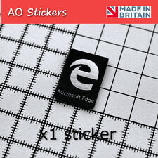 1x Microsoft Edge logo ALUMINIUM/CARBON  sticker badge SILVER for laptop PC