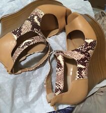 10 Jessica Simpson Brown Snake Leather  Wedge Platform Shoes New