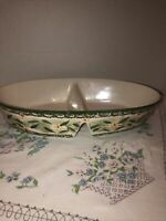 """Temptations By Tara Old World Green 14"""" Oval Divided Serving Dish"""