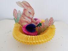 Vintage 1940's Honeycomb Easter Bunny Basket Eggs Rabbit Flowers Decoration