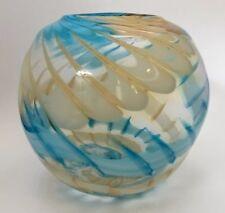 Large Round Blown Art Glass Rose Bowl Blue Yellow Swirl Centerpiece Display