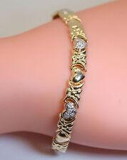 "NICE! 10K Yellow/White Gold 7"" Heart Tennis Style Bracelet W/ .25 Ct Diamonds"
