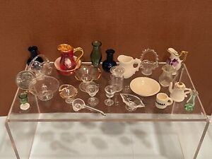 Vintage Artisan Glassware Porcelain Ceramic Dishes Vase Dollhouse Miniature 1:12