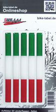 Aufkleber 3D Länder-Flaggen - Italien Italy 5 Stck. je 120 x 10 mm - 300002