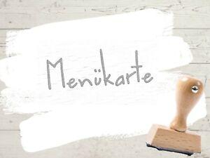 Motivstempel Menü Menükarte Speisekarte Hochzeit Wort Holz Stempel Textstempel