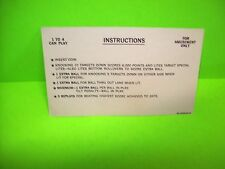 Bally 1977 NIGHT RIDER Original Flipper Game Pinball Machine Instruction Card #3