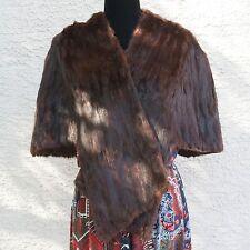 Vintage 40s-50s Hollywood Glam Authentic Mink Fur Capelet Dark Brown Mortons