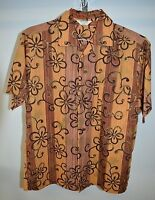 VTG MADE IN HAWAII Brand 100% Cotton Wood Grain Flower Floral Hawaiian Shirt Med