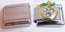 APPLE BLUE GEMS 9mm Italian Charm + 1 x GENUINE Nomination Classic Bracelet Link