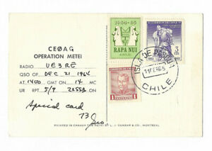 Chile (Isla de Pasqua- Easter island) 1965 'radio' post card/medical expedition