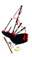 NEW-HIGHLAND-BAGPIPE-ROSEWOOD-BLACK-COLOR-SILVER-PLAIN-MOUNTS-SCOTTISH-BAGPIPES