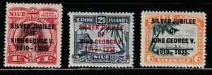 Niue  1935   Sc # 67-69   Silver Jubilee   MLH  (4057-1)