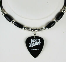 White Zombie Robot Illustration Guitar Pick Necklace