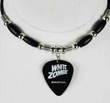 White Zombie Robot Illustration Guitar Pick Necklace