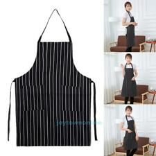 Waterproof Stripe Bib Apron With 2 Pockets Chef Waiter Home Kitchen Cooking Tool