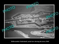 OLD LARGE HISTORIC PHOTO HELLEVOETSLUIS NETHERLANDS TOWN AERIAL VIEW c1940 1