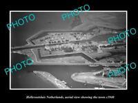 OLD LARGE HISTORIC PHOTO HELLEVOETSLUIS NETHERLANDS TOWN AERIAL VIEW c1940 1