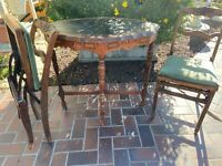 Antique Card Table w/Two Folding Chairs