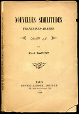 Paul Radiot : NOUVELLES SIMILITUDES FRANCAISES-ARABES. 1889. Linguistique