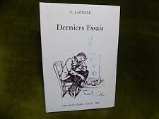 DERNIERS ESSAIS Dr Edmond Lacoste Envoi lettre autographe   Latin vivant