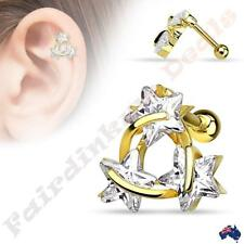 Surgical Steel 14kt Gold Ion Plated Tragus/Cartilage Stud with Tri Star Triangle
