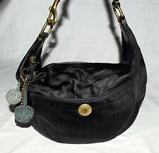 Coach # 8F21 Hamptons Black Nylon & Leather Trim Hobo Bag w/ Leather Pom Poms
