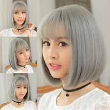 Women's Ombre Grey  Short Bob Straight Synthetic Hair Lace Front Wig Heat Good