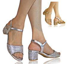 Womens Ladies Party Diamante Ankle Straps Low Block Heel Shoes Sandal Size 20448