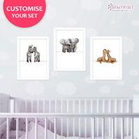 Twin Safari Animal Print Set Of 3 | New Baby Twins Nursery Wall Art | Unframed
