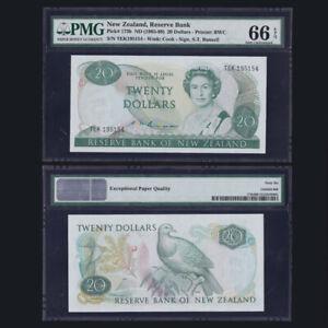 [PMG] New Zealand 20 Dollars, ND(1985-89), P-173b, EPQ 66, S.T.Russell, UNC