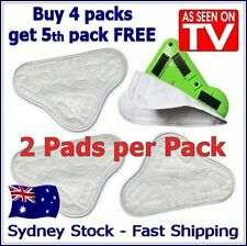 2 PACK - Aftermarket H20 H2O StickOn White Steam Cleaning Mop X5 Pads Microfiber
