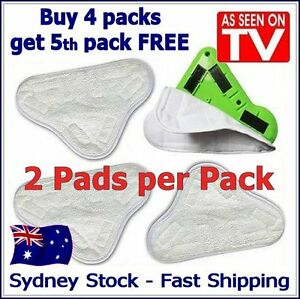 2 PADS - Aftermarket H20 StickOn White Cleaning (X5 Steam Mop) Pads Microfiber