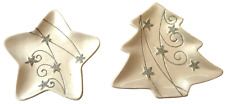 Decorative silver Christmas Candle plates Pack of two
