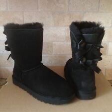 UGG SHORT BAILEY BOW II 2.0 BLACK WATER-RESISTANT SUEDE BOOTS SIZE US 12 WOMENS