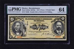 1915 Mexico Revolutionary 5 Pesos Pick#S1044a PMG 64 Choice UNC