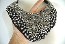 Necklace Hand Made One Of A Kind Jeweled Black Silver reignstone jewl Formal Bib