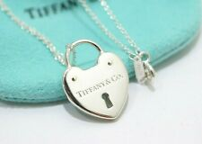 2bbbcab7f Tiffany & Co. Sterling Silver Heart Keyhole Padlock Pendant Necklace 16