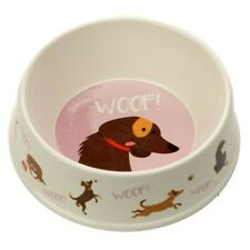 Eco Friendly Bamboo Composite Catch Patch Woof Dog Food Dish Water Bowl Gift Pup