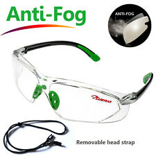 Safeyear Safety Glasses Goggles Work Lab Anti Fog Clear Lens Neck Cord Z871 Gn