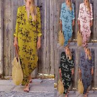 Women's Bohemia Kaftan Long Sleeve V-Neck Maxi Dress Floral Printed Long Dress