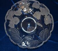 "New Crystal Clear Studios Heavy 12"" Fruit/Serving Bowl Frosted Flowers Leaves"