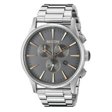 Nixon Silver Mens Analog Sport Sentry Chronograph A3862064